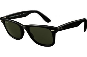 Ray-Ban Original Wayfarer Sunglasses, Black Crystal Green Polarized Frame / Polarized 50mm Lenses, 901-58-5022