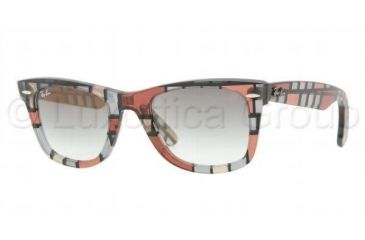 Ray-Ban Original Wayfarer RB2140 Sunglasses with No-Line Progressive Rx Prescription Lenses RB2140-108332-5022 - Lens Diameter: 50 mm, Frame Color: Red-Beige Crystal
