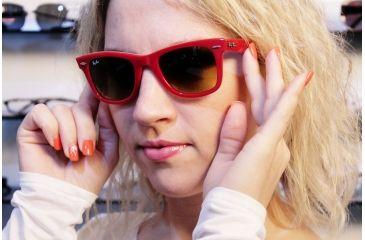 Ray-Ban Original Wayfarer Sunglasses RB2140 113385-5022 - Top Red on Plaid Texture Frame, Gradient Brown Lenses