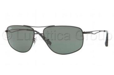 Ray-Ban RB3490 Sunglasses 006/71-5916 - Matte Black Frame, Green Lenses