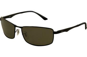 Ray-Ban RB3498 Sunglasses 002/9A-6117 - Black Frame, Green Lenses