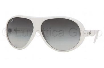 e0a8249e2 Ray-Ban RB4112 Sunglasses Styles Shiny White Frame w/ Gray Gradient 64 mm  Diameter