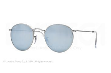 Ray-Ban Round Metal Sunglasses RB3447 019/30-50 - Matte Silver Frame, Light Green Mirror Silver Lenses