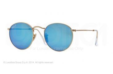 Ray-Ban Round Metal Sunglasses RB3447 112/4L-50 - Matte Gold Frame, Blue Mirror Polar Lenses