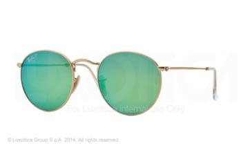 Ray-Ban Round Metal Sunglasses RB3447 112/P9-50 - Matte Gold Frame, Green Mirror Polar Lenses