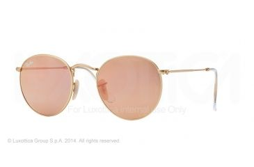 Ray-Ban Round Metal Sunglasses RB3447 112/Z2-50 - Matte Gold Frame, Brown Mirror Pink Lenses