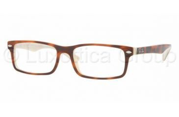 Ray Ban RX 5162 Eyeglasses, Top Havana On Horn Cream Frame w/NonRx 52 mm Diameter Lenses, 2361 5216