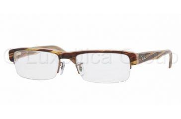 Ray-Ban RX 5171 Eyeglasses Styles - Brown Strip. On Brown O Frame w/Non-Rx 53 mm Diameter Lenses, 2328-5318