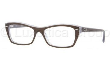 Ray-Ban RX5255 Progressive Prescription Eyeglasses 5076-5116 - Top Brown On Opal Azure Frame