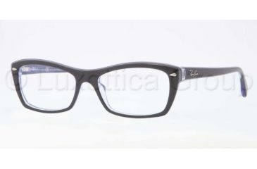 Ray-Ban RX5255 Progressive Prescription Eyeglasses 5190-5116 - Top Black on Lilac Frame, Demo Lens Lenses