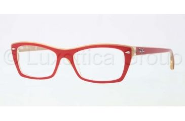 Ray-Ban RX5255 Progressive Prescription Eyeglasses 5191-5116 - Top Red on Yellow Frame, Demo Lens Lenses
