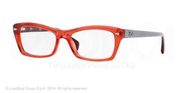 Ray-Ban RX5255 Progressive Prescription Eyeglasses 5374-51 - Shiny Trasparent Red Frame