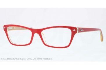 Ray-Ban RX5256 Eyeglass Frames 5191-52 - Top Red on Yellow Frame, Demo Lens Lenses