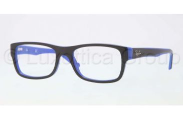 Ray-Ban RX5268 Bifocal Prescription Eyeglasses 5179-4817 - Top Black on Blue Frame, Demo Lens Lenses