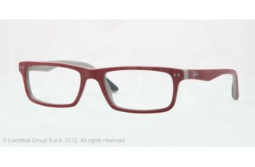 Ray-Ban RX5277 Prescription Eyeglasses 5228-52 - Top Red On Grey Frame, Demo Lens Lenses