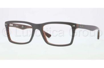 Ray-Ban RX5287 Single Vision Prescription Eyeglasses 5176-5218 - Top Grey/Variegated Brown Frame, Demo Lens Lenses