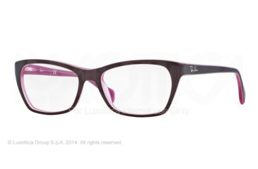 Ray-Ban RX5298 Eyeglass Frames 5386-53 - Top Matte Brown On Opal Pink Frame