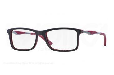 Ray-Ban RX7023 Eyeglass Frames 5259-53 - Top Black On Matte Bordeaux Frame