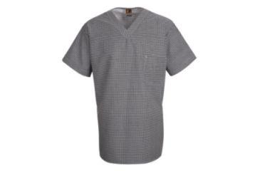 Red Kap Checked V-Neck Chef Shirt, Men, Black & White Check, SSL SP08WBSSL