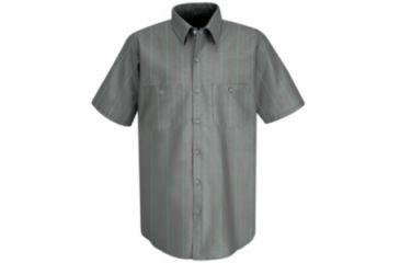 Red Kap Industrial Stripe Work Shirt, Charcoal/Red/White Str, SSL SP24CRSSL