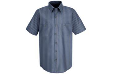 Red Kap Industrial Stripe Work Shirt, Gray/Blue Stripe, SSL SP24EXSSL