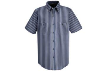 Red Kap Industrial Stripe Work Shirt, Navy/Khaki Stripe, SSL SP24KNSSL