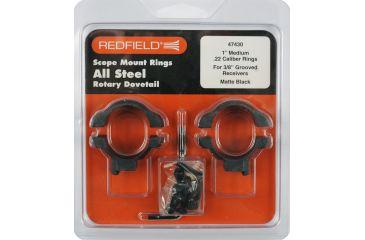 Redfield Mounts .22 Cal Rimfire Steel Rifle Scope Rings - 1in, Med, .22, Matte 47430