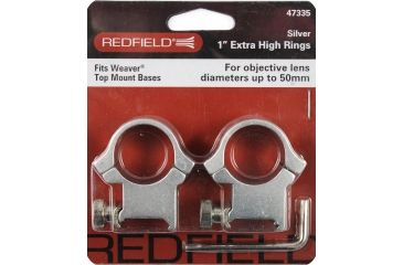 Redfield Mounts 4 Hole Aluminum Riflescope Rings - X-High, Silver 47335