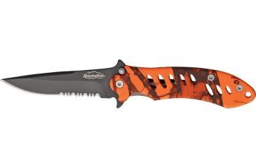 Remington Medium FAST Fold Knife, 440 stainless partially serrated clip point black , MossyOak Blaze camo rubber R19771