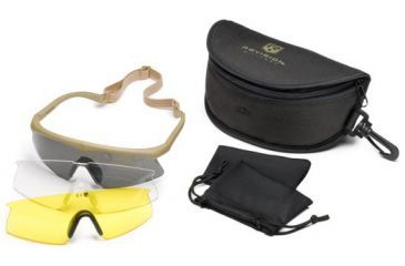 Revision Sawfly High-Impact Eyeshields - Deluxe Kit w/ Polarized, HC Yellow, and Clear lenses - Tan Frame