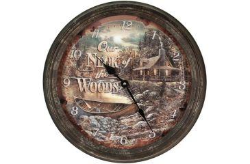 River's Edge 15in. Diameter Metal Clock, Cabin Scene 195118