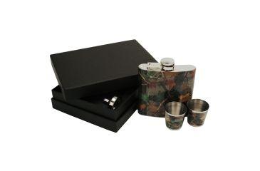 River's Edge Flask w/ Two Shot Glasses Gift Set, Camo, 6 oz. Flask 184061