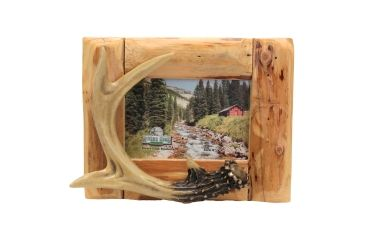 River's Edge Resin Picture Frame, Single Photo, Deer, Fir Root, Antler, 4in x 6in 184088