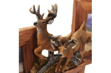 River's Edge Resin Picture Frame, 3 Picture, Deer, Firwood, 19in W x 18in H, Holds 3 - 4in x 6in Photos 184106