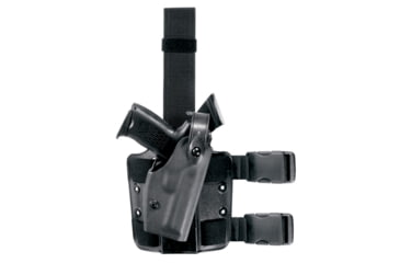 Safariland 6004 SLS Thigh Holster w/Hood Guard, STX Black, Right Hand - Colt 1991A1 & Similar