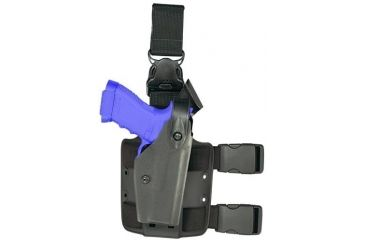 Safariland 6005 SLS Tactical Holster w/ Quick Release Leg Harness - Tactical Black, Right Hand, Hood Guard Sentry Protection 6005-832-121-SH