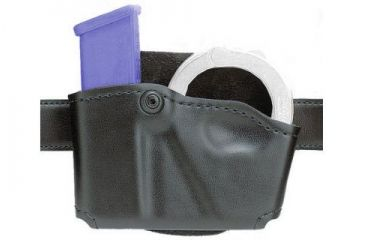 Safariland 573 Concealment Magazine Holder, Paddle, Single w/Cuff Pouch - Plain Cordovan, Ambidextrous 573-76-062