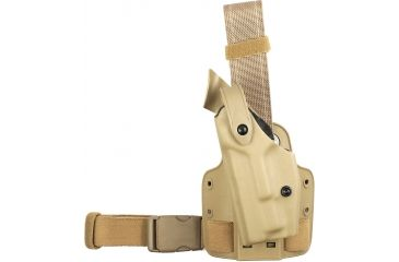 Safariland SLS Tactical Holster, Left Hand, STX FDE Brown Leg Shroud Single Strap 6004-148-552-SP10