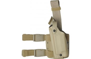 Safariland 6004 SLS Tactical Thigh Holster, STX FDE Brown, Left Hand - Glock 17/22 w/Surefire - 836-552