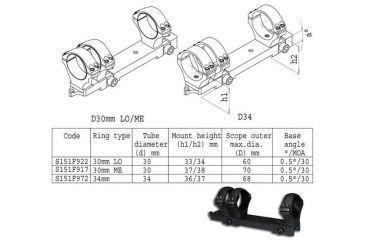 Sako Sako Trg Scope Mount 3 Ring 34mm Diameter Med 3637mm Height Phosphate 30 Moa S151f972