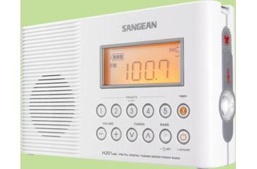 Sangean AM/FM, Digital Tuning, Water Resistant to JIS7 Standard, Clock H-201