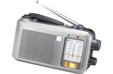 Sangean AM/FM Multi-Powered, Battery/AC/Crank Rechargeable Water-Resistant, Silver MMR-77
