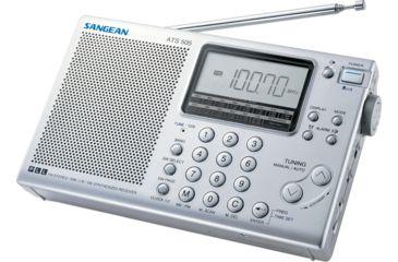 Sangean AM/FM Stereo/SW Digital Tuning, Clock/Alarm, 5 Tuning Methods, Silver ATS-505P