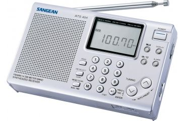 Sangean AM/FM Stereo/SW Digital Tuning w/ ATS, Clock/Alarm, 45 Memory Presets, Silver ATS-404