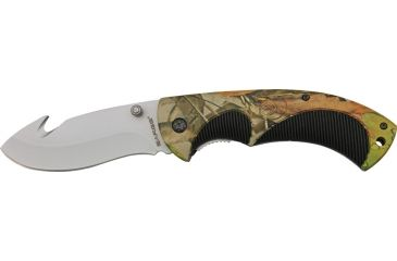 Sarge Guthook Linerlock, stainless guthook blade, Rubberized camo and black handle SK909