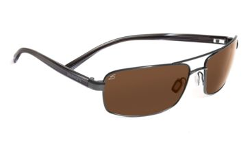 Serengeti San Remo Sunglasses - Shiny Gunmetal/Gray Stripe Frame, Drivers Polarized Lenses 7607