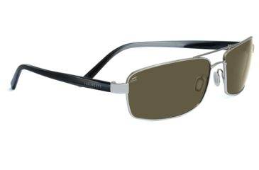Serengeti Trapani Sunglasses - Satin Black/Gray Stripe Frame, 555nm Polarized Lenses 7597