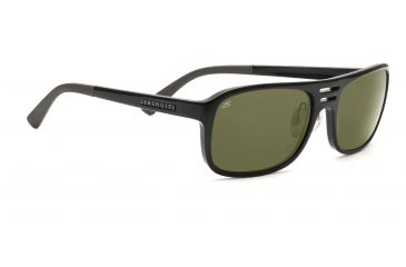 Serengeti Lorenzo Sunglasses - Shiny Black Frame, 555nm Polarized Lenses 7648
