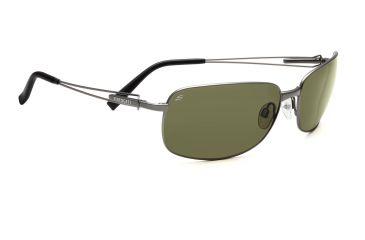 Serengeti San Remo Sunglasses - Shiny Gunmetal/Gray Stripe Frame, Drivers Polarized Lenses 7607