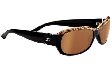 Serengeti Chloe Sunglasses - Shiny Brown Cork Black Frame and Polarized Drivers Gold Lens 7749